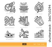 set of eco outline web icons
