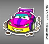 cartoon pink car sticker for... | Shutterstock .eps vector #366725789
