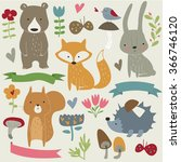 vector set of forest animals ... | Shutterstock .eps vector #366746120