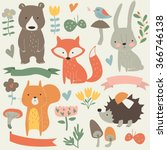 set of forest animals in... | Shutterstock .eps vector #366746138