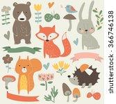 Stock vector set of forest animals in cartoon style cute hedgehog birds bear fox hare mushrooms elk 366746138