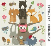 set of forest animals in... | Shutterstock .eps vector #366746168