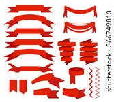 red ribbons set  flat icons for ... | Shutterstock .eps vector #366749813