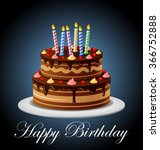 birthday cake with candles | Shutterstock .eps vector #366752888