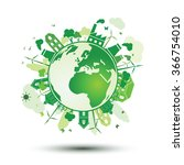green city with green eco earth ... | Shutterstock .eps vector #366754010