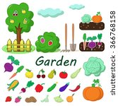 garden with some fruits and... | Shutterstock .eps vector #366768158