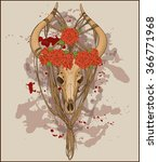 colorful animal skull decorated ... | Shutterstock .eps vector #366771968