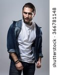 handsome fashion man in jeans... | Shutterstock . vector #366781148