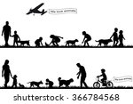 people with pets in the park | Shutterstock .eps vector #366784568