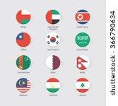 asian continent flags flat set | Shutterstock .eps vector #366790634