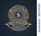 calligraphic floral baroque... | Shutterstock .eps vector #366794336