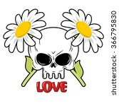 Skull And Flowers. Daisies And...