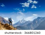 happy hiker winning reaching... | Shutterstock . vector #366801260