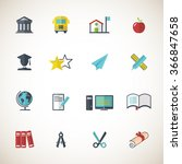 education icon set | Shutterstock .eps vector #366847658