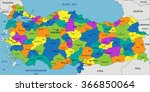 colorful turkey political map... | Shutterstock .eps vector #366850064