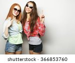 two young girl friends standing ... | Shutterstock . vector #366853760