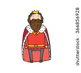 king with a crown in cartoon... | Shutterstock .eps vector #366856928
