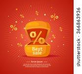 best sale banner. gift box in... | Shutterstock .eps vector #366863936