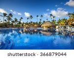 tropical swimming pool and palm ... | Shutterstock . vector #366879044