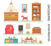 baby room with furniture.... | Shutterstock .eps vector #366905240