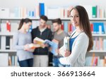 confident smiling student girl... | Shutterstock . vector #366913664