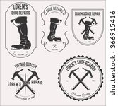 vintage shoe repair logo set... | Shutterstock .eps vector #366915416