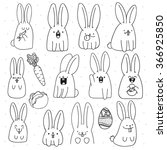 Stock vector rabbit doodle set sticker with different cute emotions handmade surprised animal for design 366925850