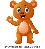 cute brown bear waving hand | Shutterstock .eps vector #366934466