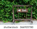Exit Sign Made Of Wood With...