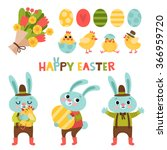 set with cute cartoon easter... | Shutterstock .eps vector #366959720