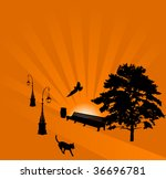 illustration with cat on path... | Shutterstock .eps vector #36696781