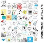 calendar doodles set | Shutterstock .eps vector #366969578