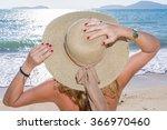 woman enjoying beach relaxing... | Shutterstock . vector #366970460