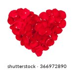 Red Rose Petals Heart. Isolate...