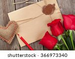 love letter  red roses and... | Shutterstock . vector #366973340