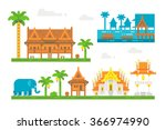 flat design beautiful thai... | Shutterstock .eps vector #366974990