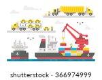 flat design trading port... | Shutterstock .eps vector #366974999