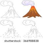 cartoon erupting volcano.... | Shutterstock .eps vector #366988838