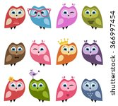 owls and owlets set | Shutterstock .eps vector #366997454