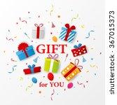birthday gift celebration with... | Shutterstock .eps vector #367015373
