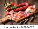 cured meat platter of... | Shutterstock . vector #367036823