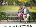 happy young couple in love... | Shutterstock . vector #367052054