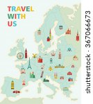 europe map with famous... | Shutterstock .eps vector #367066673