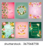 tropical flowers card set   for ... | Shutterstock .eps vector #367068758