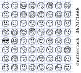 big set of 64 smiles on... | Shutterstock .eps vector #367071668