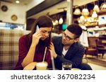 couple at cafe  she is talking... | Shutterstock . vector #367082234