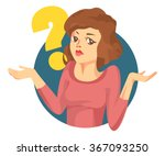 vector woman with a question... | Shutterstock .eps vector #367093250