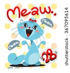Stock vector funny cartoon t shirt graphic cat chic on polka dot background vector 367095614