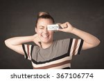 happy girl looking with hand... | Shutterstock . vector #367106774