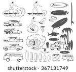 vector set of vintage surfing...   Shutterstock .eps vector #367131749